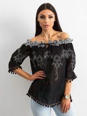 Czarna haftowana bluzka hiszpanka