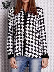 Czarna koszula we wzór szachownicy z biżuteryjnym kołnierzykiem