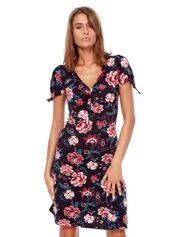 Czarna mini sukienka V-neck z nadrukiem kwiatów
