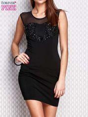 Czarna ołówkowa sukienka z aplikacją
