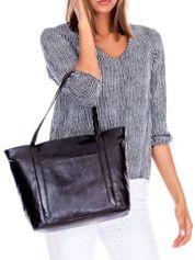 Czarna skórzana torba shopper bag ze skóry z kieszeniami