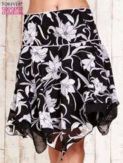 Czarna spódnica w kwiaty z karczkiem