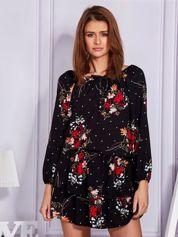 Czarna sukienka damska floral print