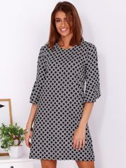 Czarna sukienka w drobny geometryczny nadruk