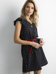 Czarna sukienka w groszki