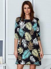 Czarna sukienka z motywem palmowych liści