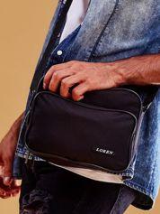 Czarna torba męska materiałowa z kieszeniami