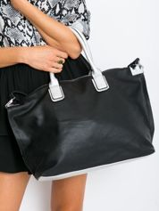 Czarna torba shopper z odpinanym paskiem
