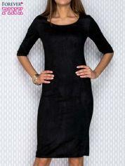 Czarna zamszowa sukienka z suwakiem