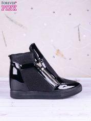 Czarne sneakersy z suwakiem z boku, lakierowanymi wstawkami i materiełem z efektem glitter