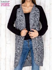 Czarny melanżowy otwarty sweter