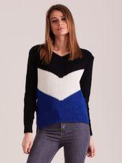 Czarny sweter color block