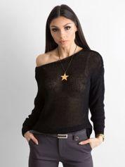 Czarny sweter z metaliczną nicią