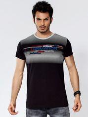 Czarny t-shirt męski z geometrycznym nadrukiem