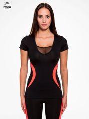 Czarny termoaktywny t-shirt sportowy z siateczką przy dekolcie z fluoróżową wstawką ♦ Performance RUN