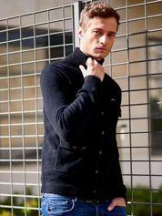 Czarny wełniany sweter męski ze stójką