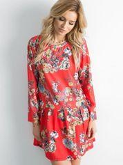 Czerwona sukienka floral print z falbaną