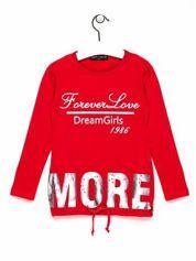 Czerwona tunika dla dziewczynki z napisem FOREVER LOVE