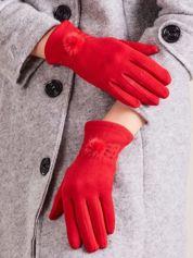Czerwone Ocieplane Damskie Rękawiczki Z Puszkiem