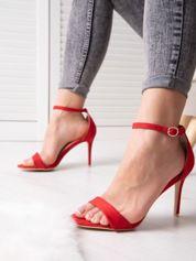 Czerwone sandały z eco zamszu ze złotą sprzączką