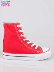 Czerwone sneakersy trampki damskie na koturnie
