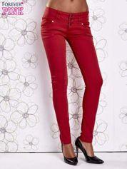 Czerwone strechowe spodnie skinny z kieszeniami