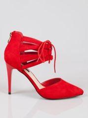 Czerwone zamszowe szpilki lace up z wiązaniem