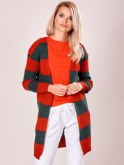 Czerwony-khaki sweter w pasy