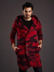 Czerwony sweter męski moro z asymetrycznym zapięciem