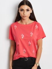 Czerwony t-shirt z cekinowymi ptakami