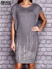 DKNY Szara sukienka z nadrukiem