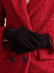 DOTYKOWE Czarne Rękawiczki Z Koralikami