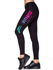 Długie legginsy fitness z tęczowym napisem czarne