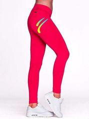 Długie legginsy sportowe z kolorowym znaczkiem fuksjowe