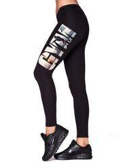 Długie legginsy sportowe z napisem GYM czarne