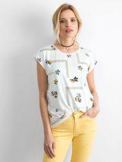 Ecru-biały t-shirt z nadrukiem