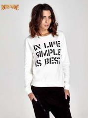 Ecru klasyczna bluza damska z napisem IN LIFE SIMPLE IS BEST