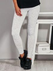 Ecru legginsy z kontrastowym modułem