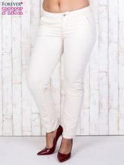 Ecru materiałowe spodnie z przednimi kieszeniami PLUS SIZE