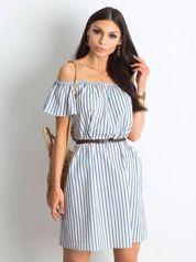 Ecru-niebieska sukienka Marinero