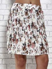 Ecru plisowana spódnica w kwiaty