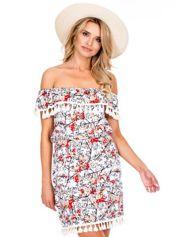 Ecru sukienka hiszpanka w roślinne wzory z pomponikami