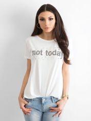 Ecru t-shirt damski NOT TODAY
