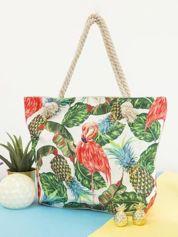 Ecru-zielona torba zakupowa z tropikalnym nadrukiem