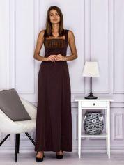 Elegancka sukienka wieczorowa maxi brązowa