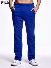 FILA Niebieskie spodnie dresowe męskie z kontrastowymi wstawkami