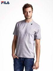 FILA Szary t-shirt męski z literowym nadrukiem