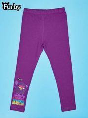 Fioletowe legginsy dla dziewczynki nadruk FURBY