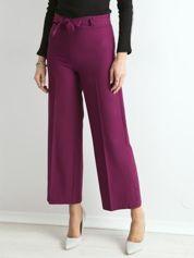 Fioletowe szerokie spodnie z wiązaniem