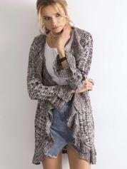Fioletowy otwarty sweter z falbanami